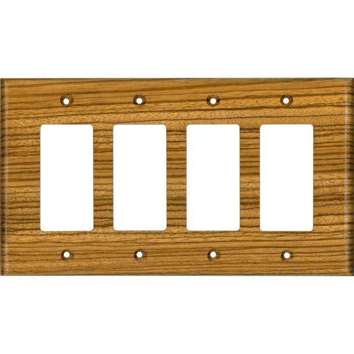 Zebrawood Satin Lacquer 4 Rocker GFCI Decorator Switch Plates