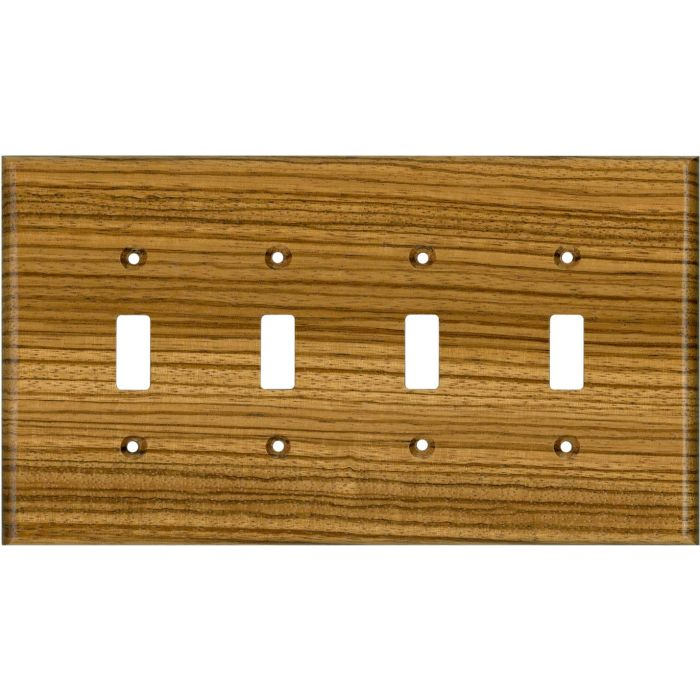 Zebrawood Satin Lacquer Quad 4 Toggle Light Switch Covers