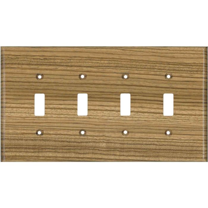 Zebrawood Unfinished - 4 Toggle Light Switch Covers