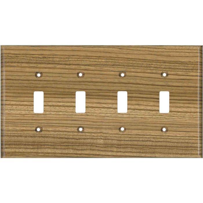 Zebrawood Unfinished Quad 4 Toggle Light Switch Covers