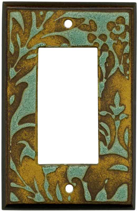 Damask Turquoise Ceramic1-Gang GFCI Decorator Rocker Switch Plate Cover