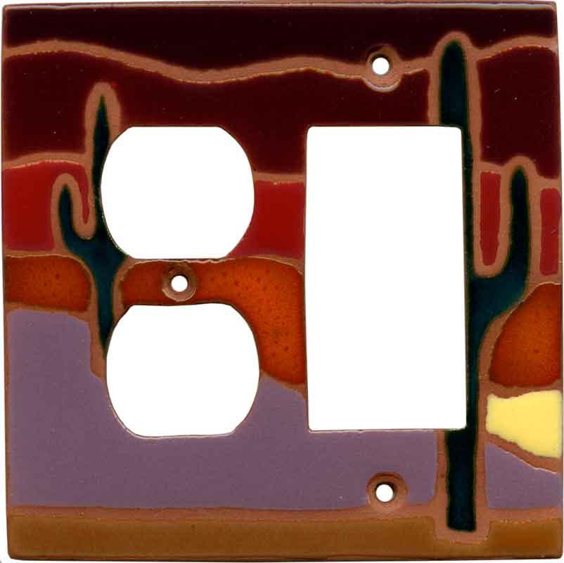 Desert Dusk Combination GFCI Rocker / Duplex Outlet Wall Plates