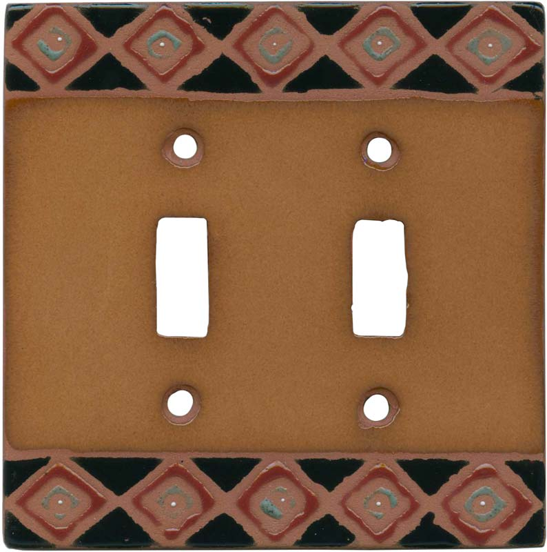 Diamond Border Double 2 Toggle Switch Plate Covers