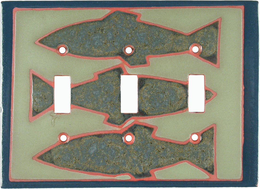 Fishlets Triple 3 Toggle Light Switch Covers