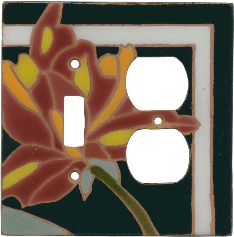 Flower 144 - Combination 1 Toggle/Outlet Cover Plates