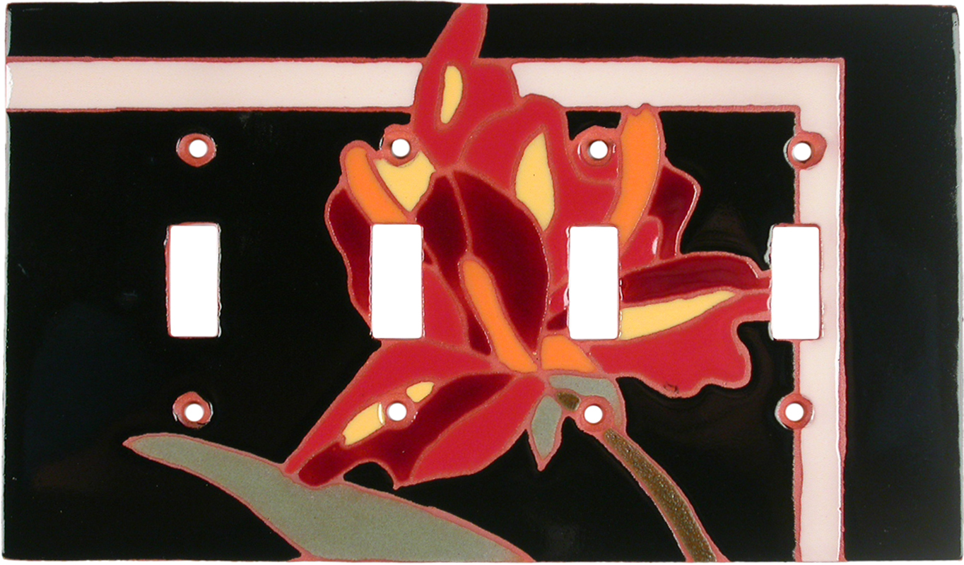 Flower 144 Quad 4 Toggle Light Switch Covers