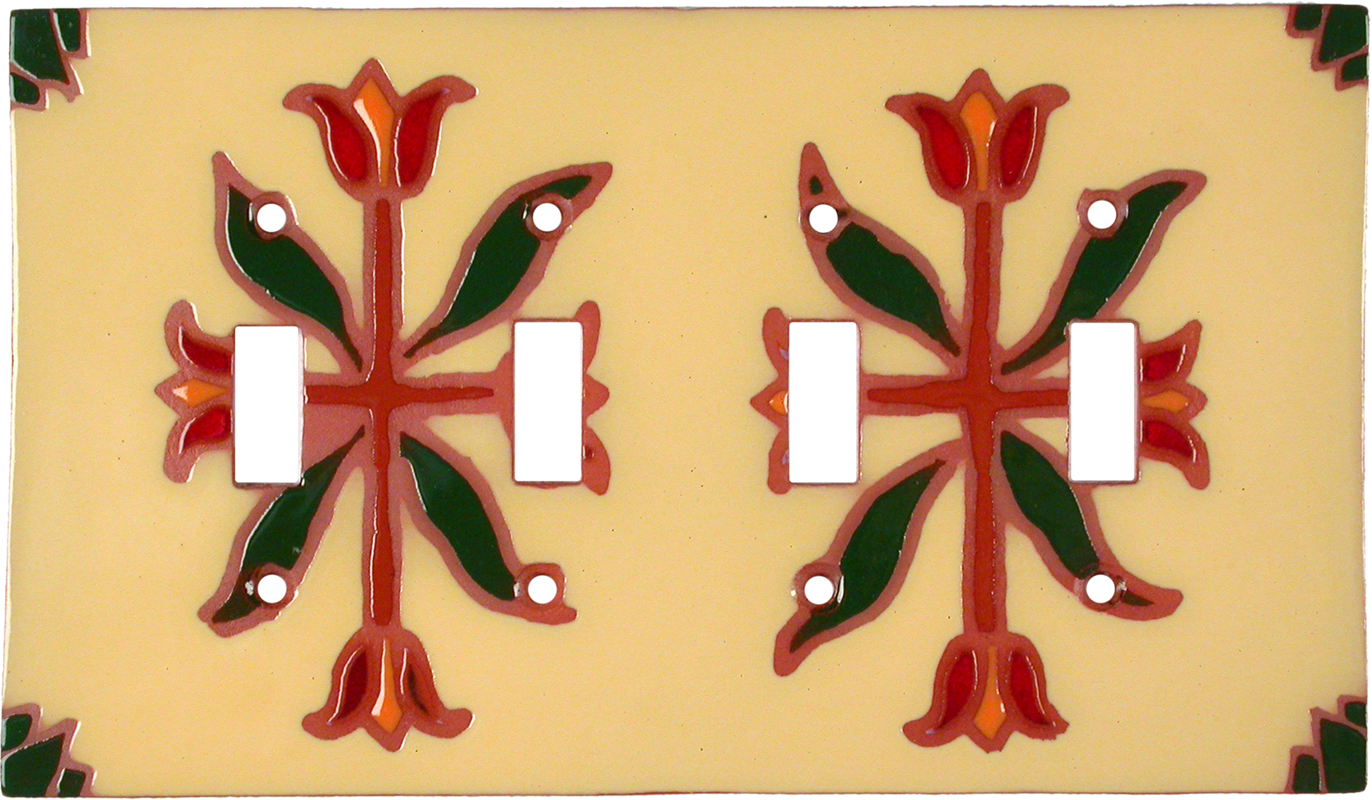 Flower Compass Quad 4 Toggle Light Switch Covers