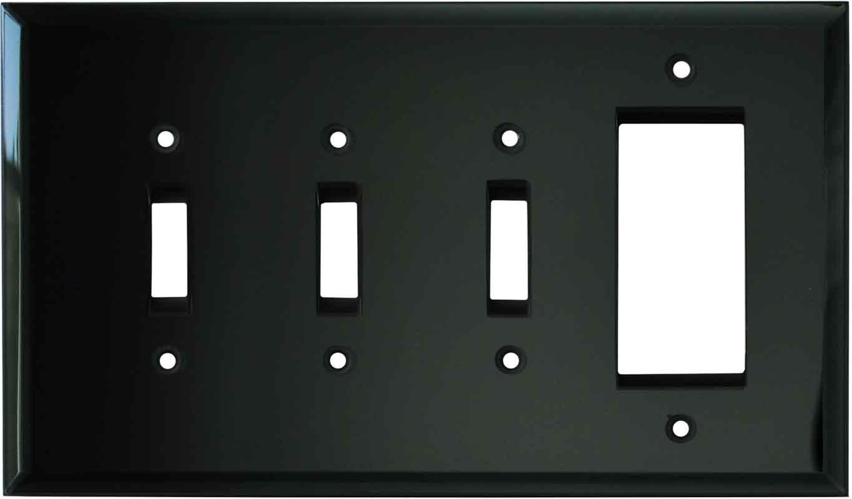Glass Mirror Black 3-Toggle / 1-Decorator / Rocker - Combination Wall Plates