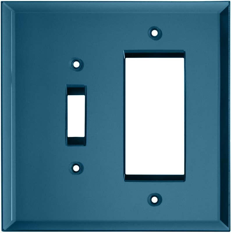 Glass Mirror Blue Tint Combination 1 Toggle / Rocker GFCI Switch Covers