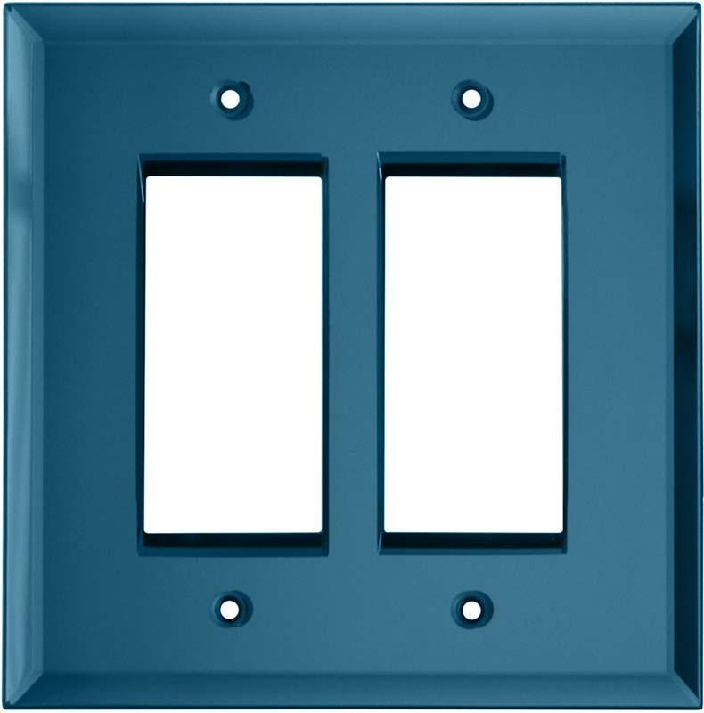 Glass Mirror Blue Tint 2 Gang Double GFCI Rocker Decorator Wallplates