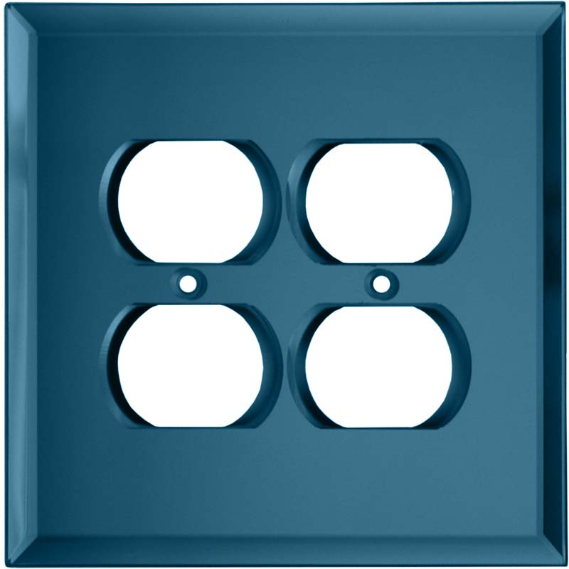 Glass Mirror Blue Tint 2 Gang Duplex Outlet Wall Plate Cover