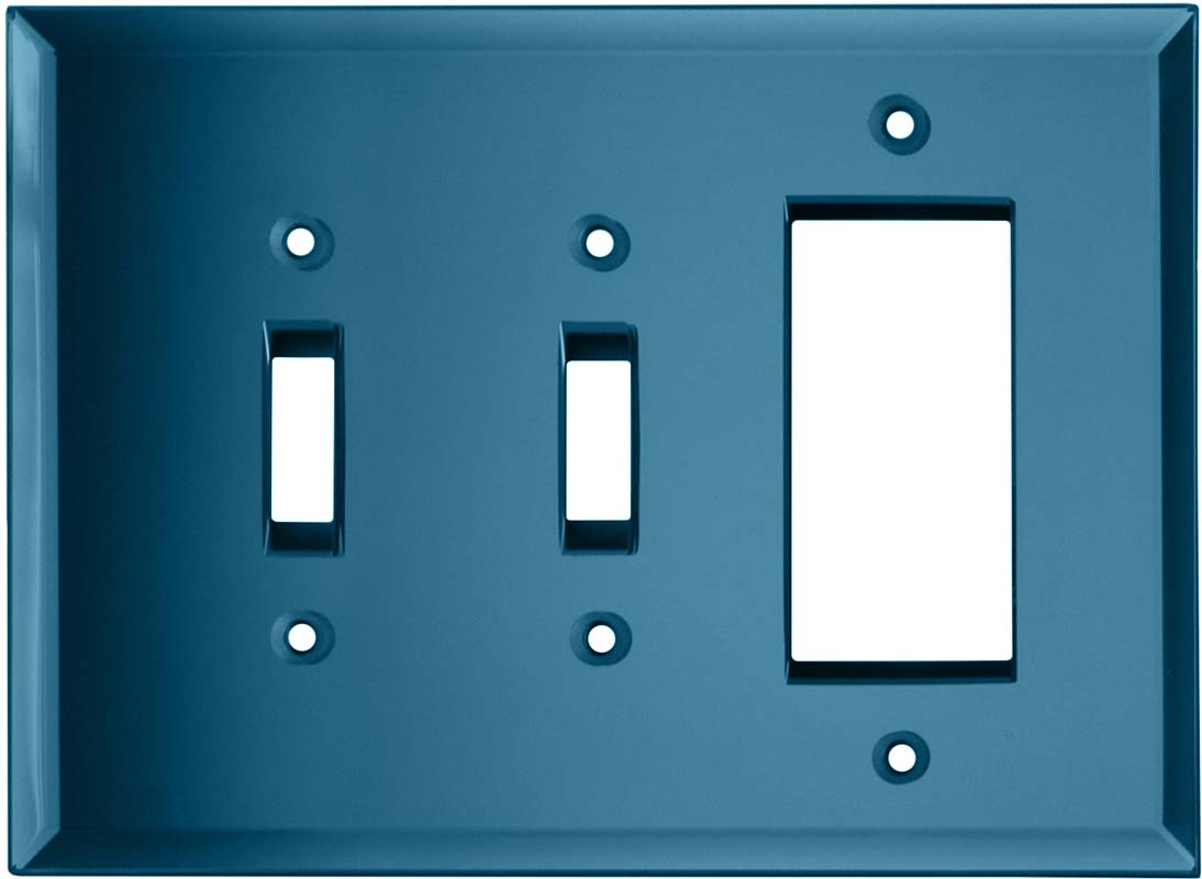 Glass Mirror Blue Tint - 2 Toggle/1 GFCI Rocker Switchplates