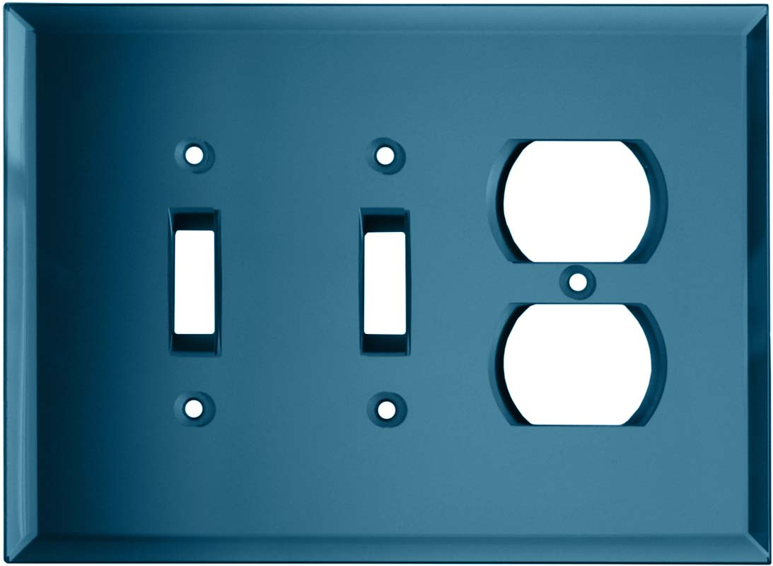 Glass Mirror Blue Tint - 2 Toggle/Outlet Combo Wallplates