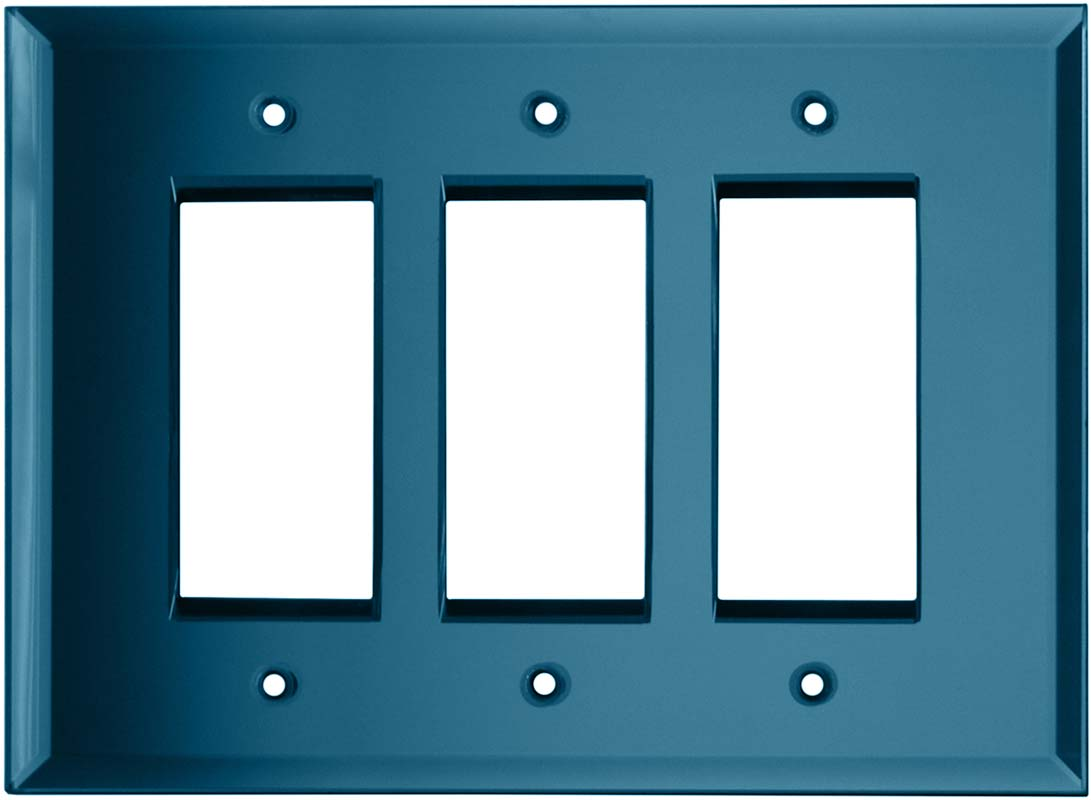 Glass Mirror Blue Tint Triple 3 Rocker GFCI Decora Light Switch Covers