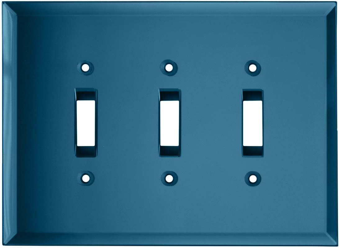 Glass Mirror Blue Tint - 3 Toggle Light Switch Covers