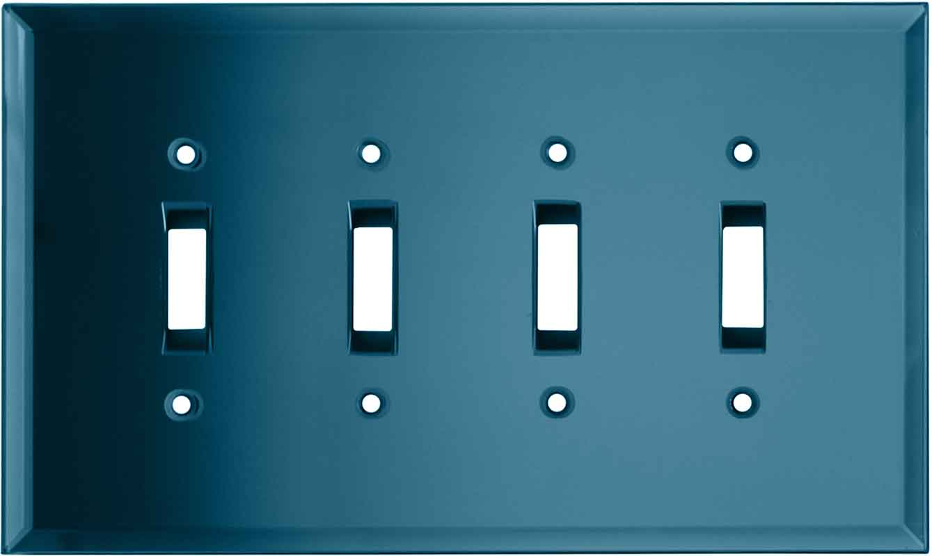 Glass Mirror Blue Tint - 4 Toggle Light Switch Covers