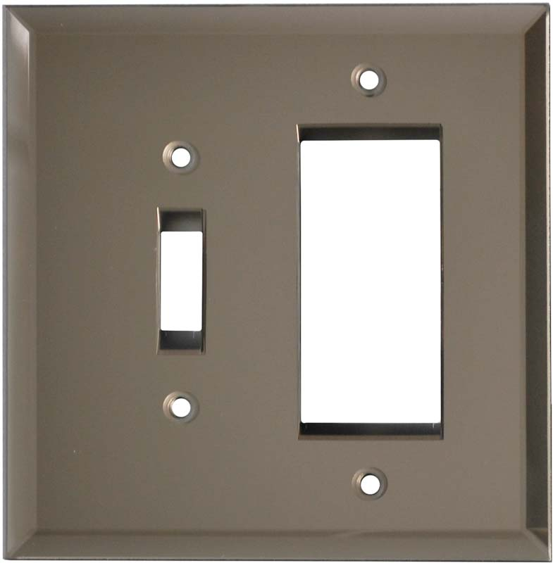 Glass Mirror Bronze Tint Combination 1 Toggle / Rocker GFCI Switch Covers