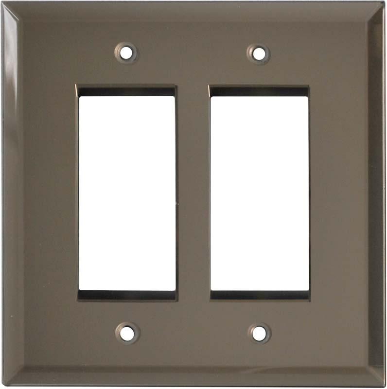 Glass Mirror Bronze Tint 2 Gang Double GFCI Rocker Decorator Wallplates