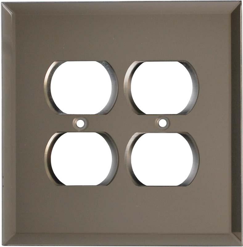 Glass Mirror Bronze Tint 2 Gang Duplex Outlet Wall Plate Cover
