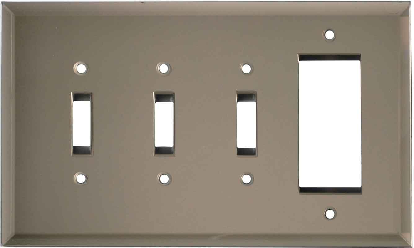 Glass Mirror Bronze Tint - 3 Toggle/1 Rocker GFCI Switch Covers