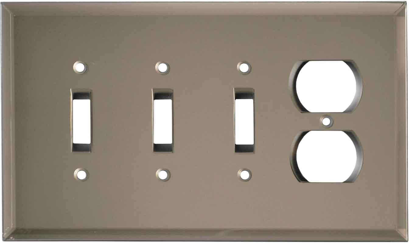 Glass Mirror Bronze Tint - 3 Toggle/Outlet Combo Wallplates