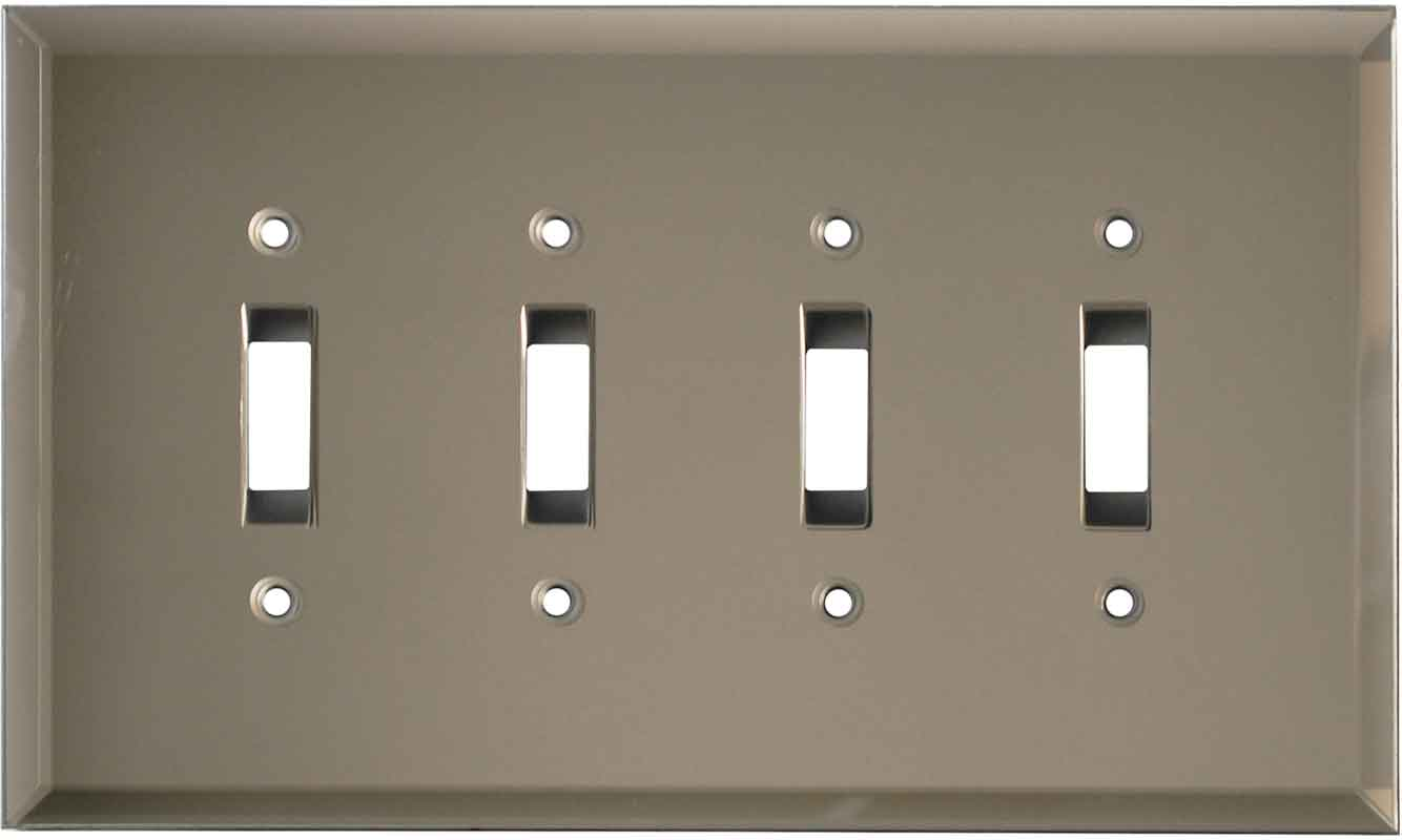 Glass Mirror Bronze Tint - 4 Toggle Light Switch Covers