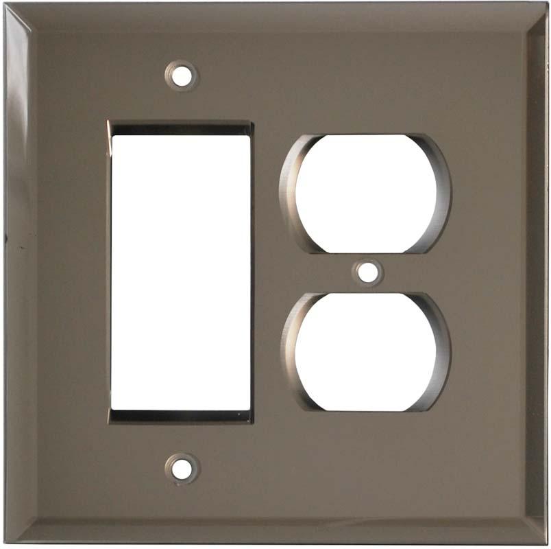 Glass Mirror Bronze Tint - GFCI Rocker/Duplex Outlet Wall Plates