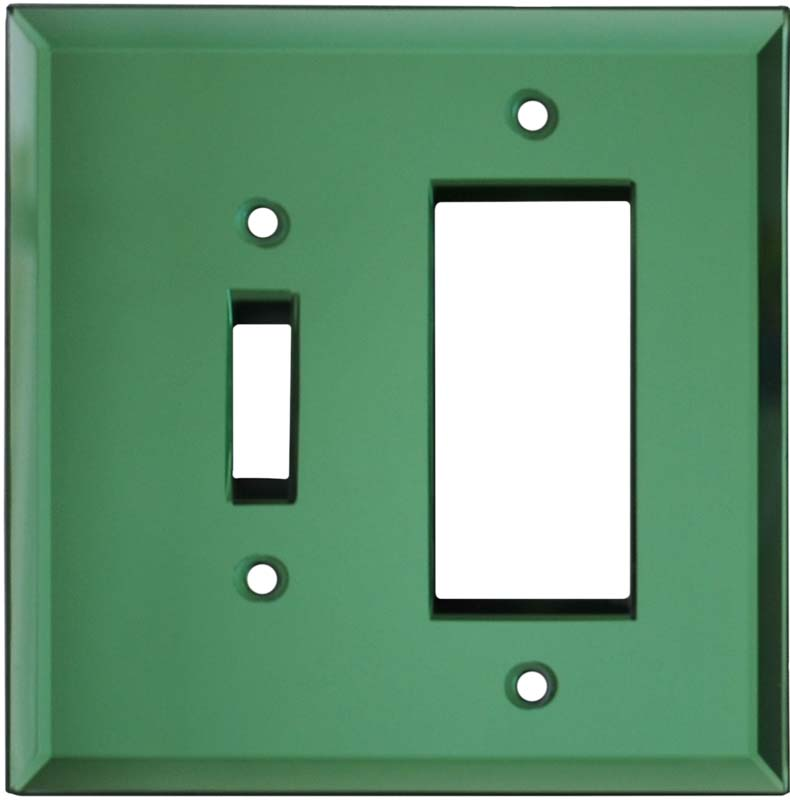 Glass Mirror Green Combination 1 Toggle / Rocker GFCI Switch Covers