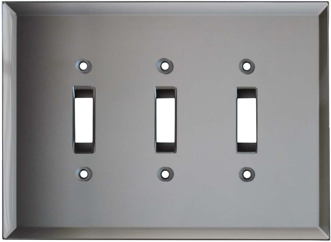 Glass Mirror Grey Tint - 3 Toggle Light Switch Covers