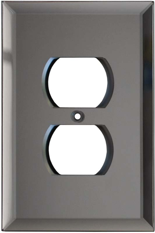 Glass Mirror Grey Tint 1 Gang Duplex Outlet Cover Wall Plate