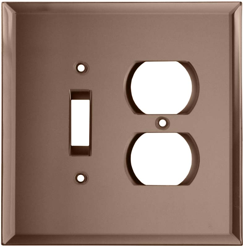 Glass Mirror Peach - Combination 1 Toggle/Outlet Cover Plates