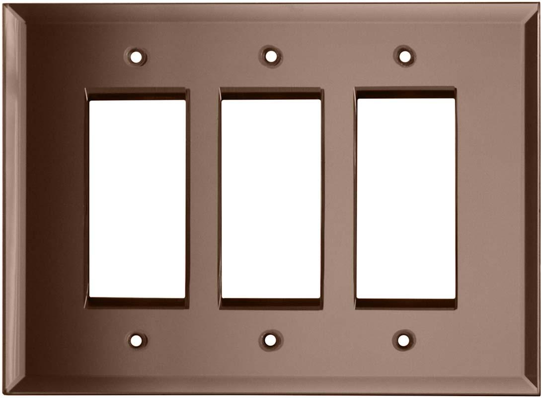 Glass Mirror Peach - 3 Rocker GFCI Decora Switch Covers