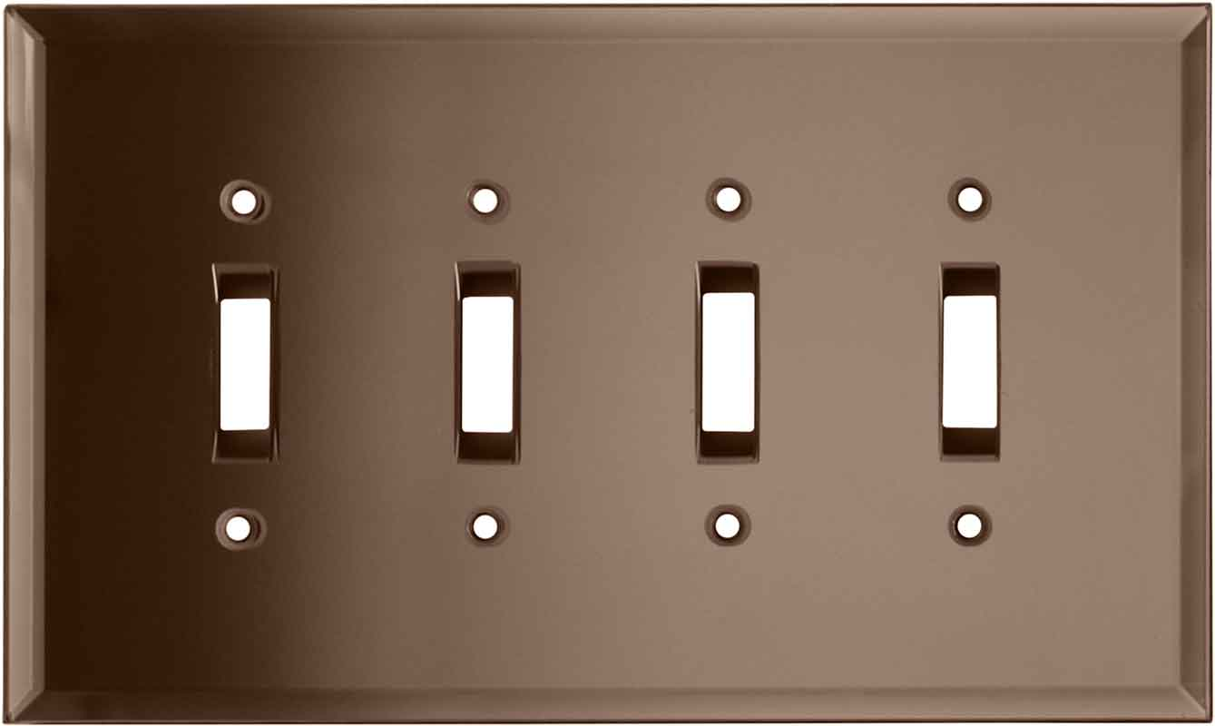 Glass Mirror Peach Quad 4 Toggle Light Switch Covers