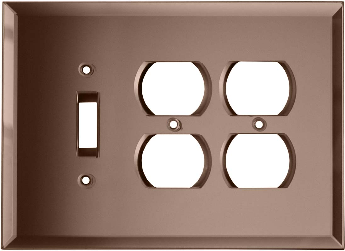 Glass Mirror Peach - 1 Toggle/2 Duplex Outlet Wall Plates