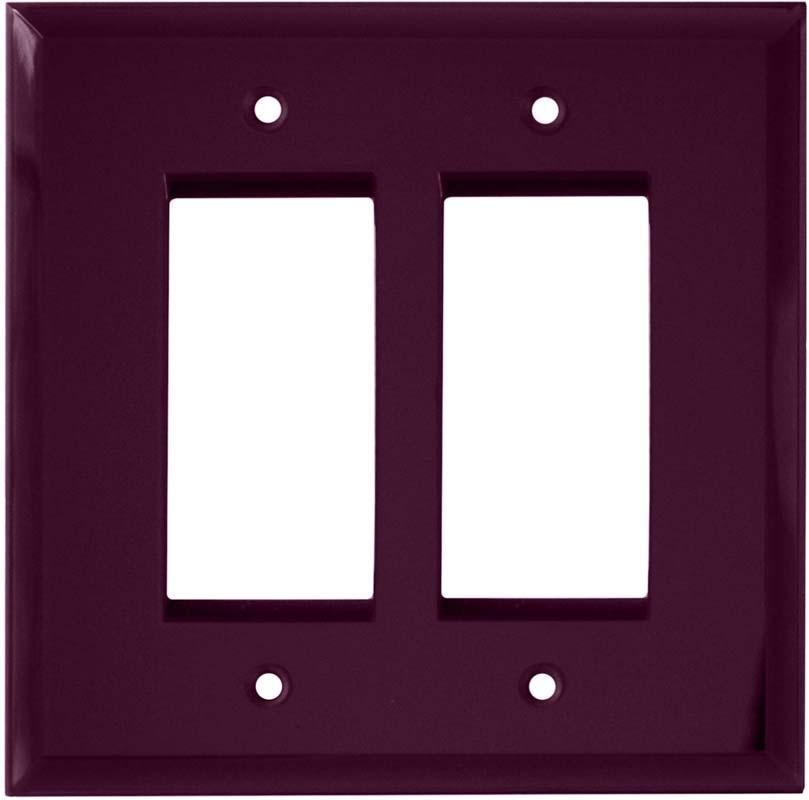 Glass Mirror Purple 2 Gang Double GFCI Rocker Decorator Wallplates