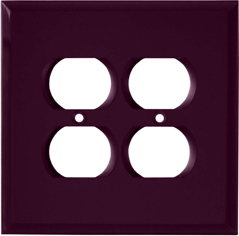 Glass Mirror Purple 2 Gang Duplex Outlet Wall Plate Cover