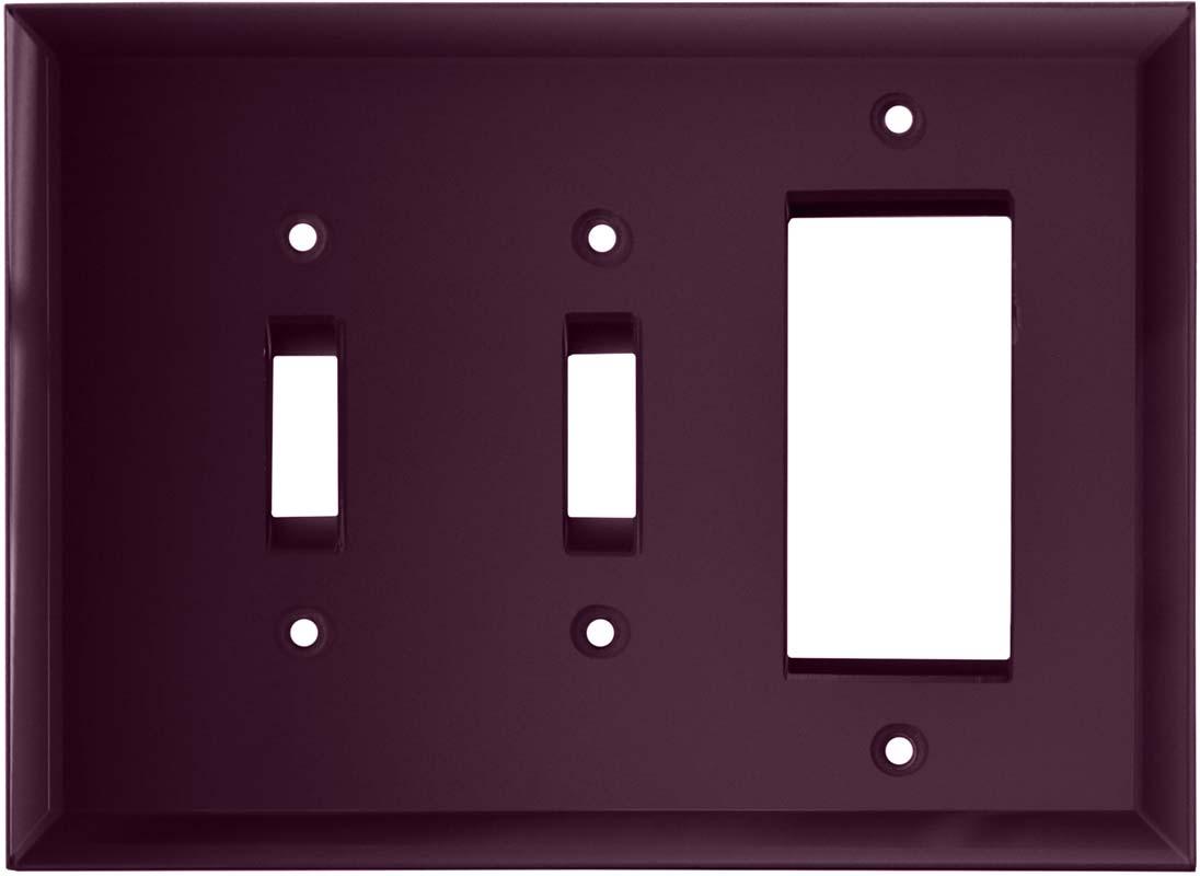 Glass Mirror Purple - 2 Toggle/1 GFCI Rocker Switchplates