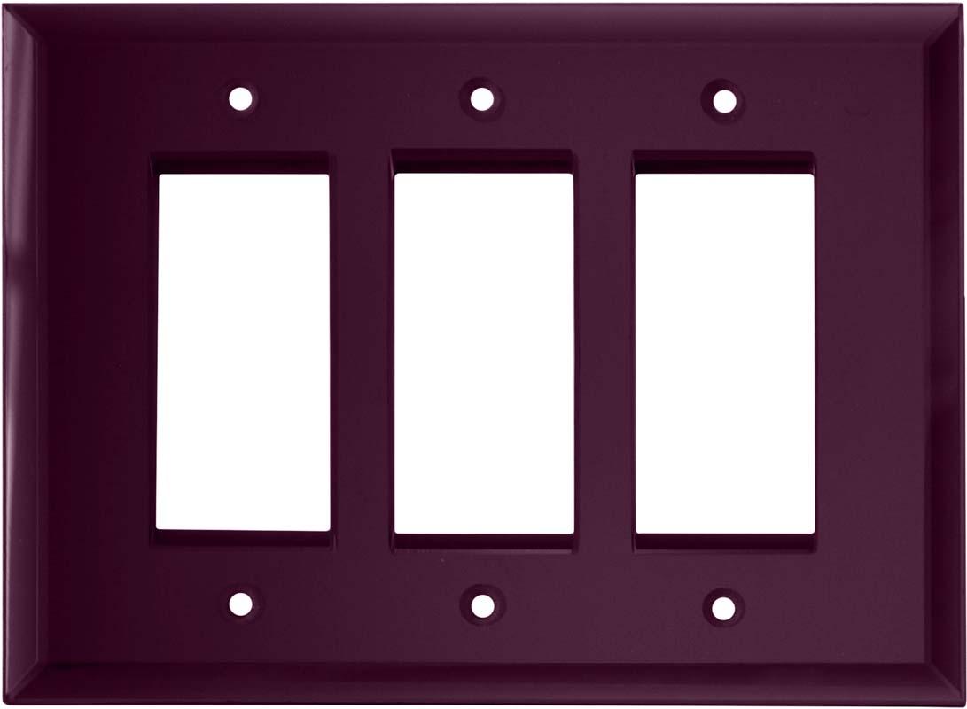 Glass Mirror Purple - 3 Rocker GFCI Decora Switch Covers