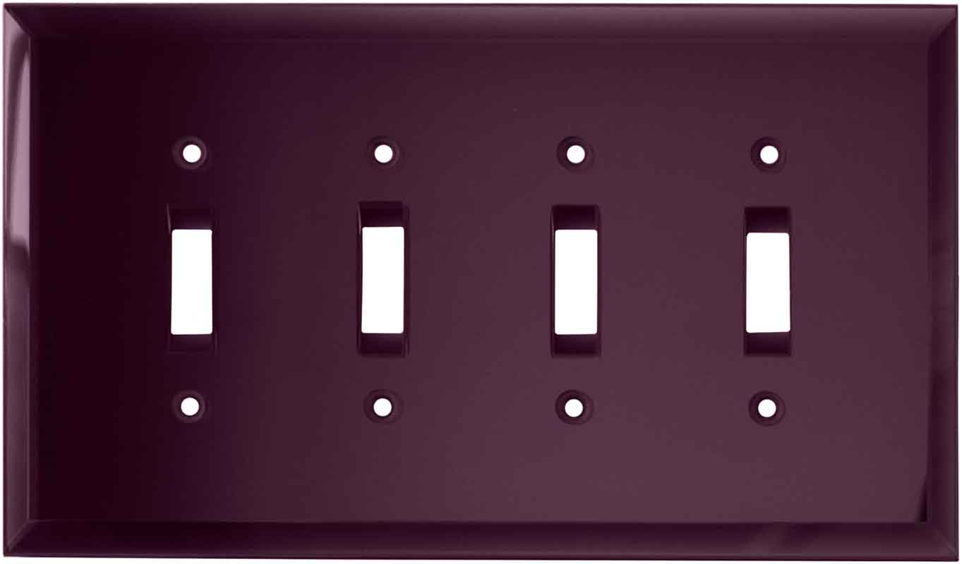 Glass Mirror Purple - 4 Toggle Light Switch Covers