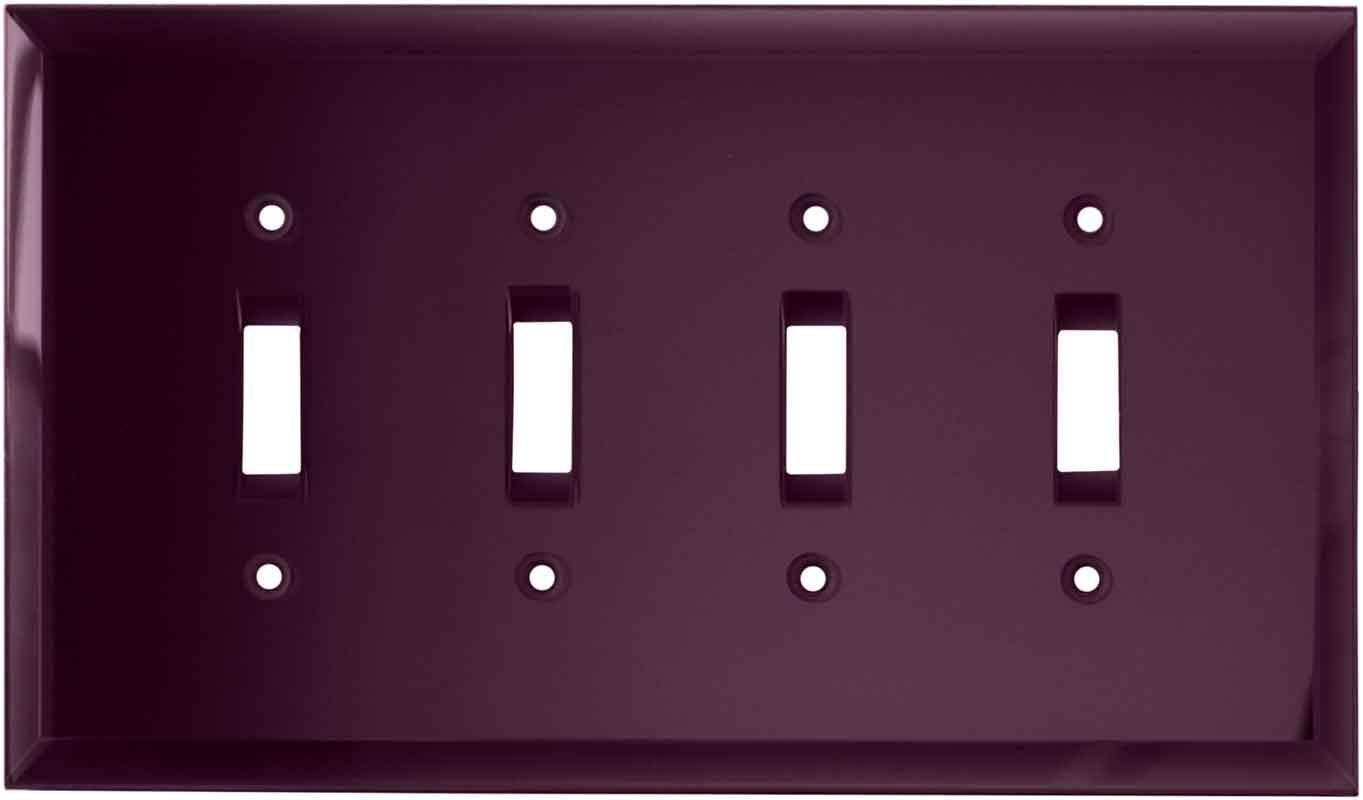 Glass Mirror Purple Quad 4 Toggle Light Switch Covers
