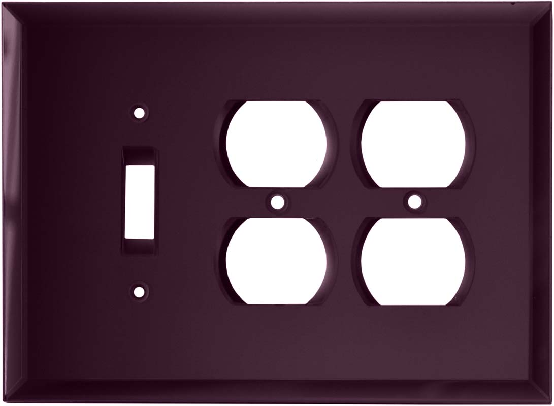 Glass Mirror Purple - 1 Toggle/2 Duplex Outlet Wall Plates