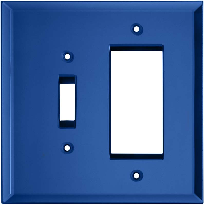 Glass Mirror Sky Blue Combination 1 Toggle / Rocker GFCI Switch Covers