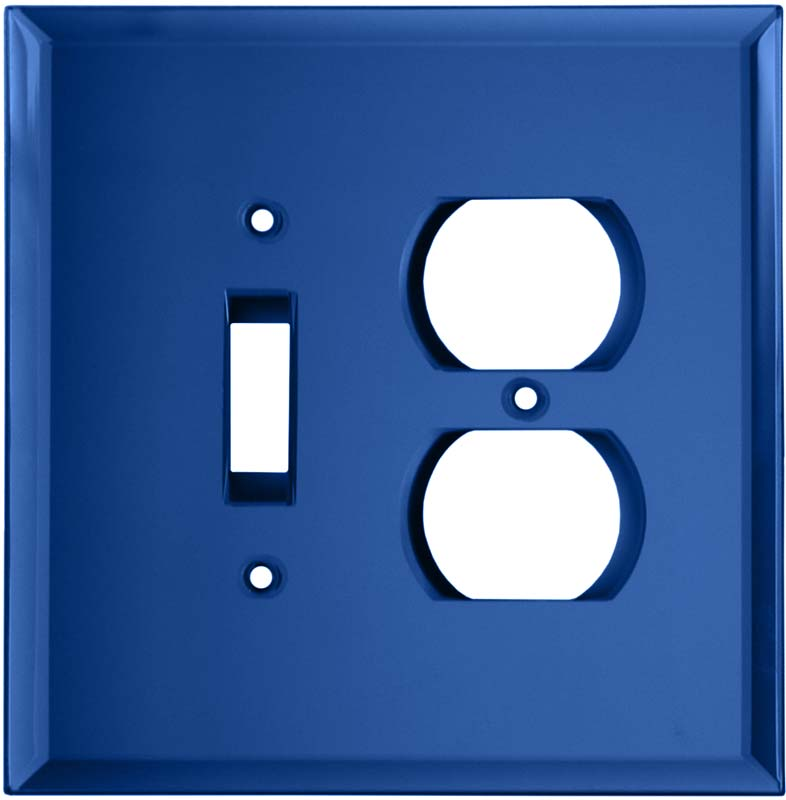 Glass Mirror Sky Blue Combination 1 Toggle / Outlet Cover Plates