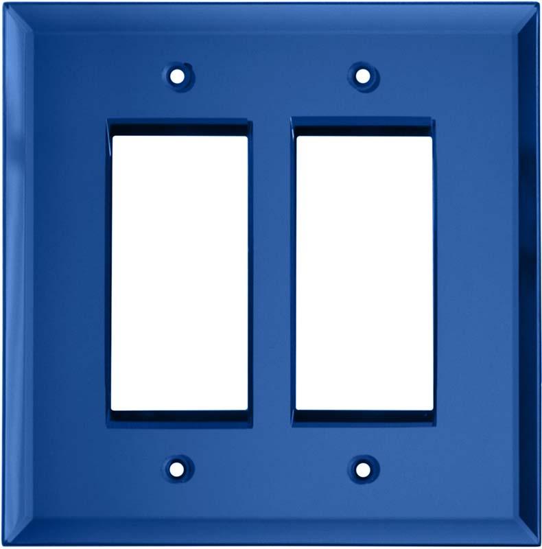 Glass Mirror Sky Blue - 2 Gang Double GFCI Rocker Wallplates