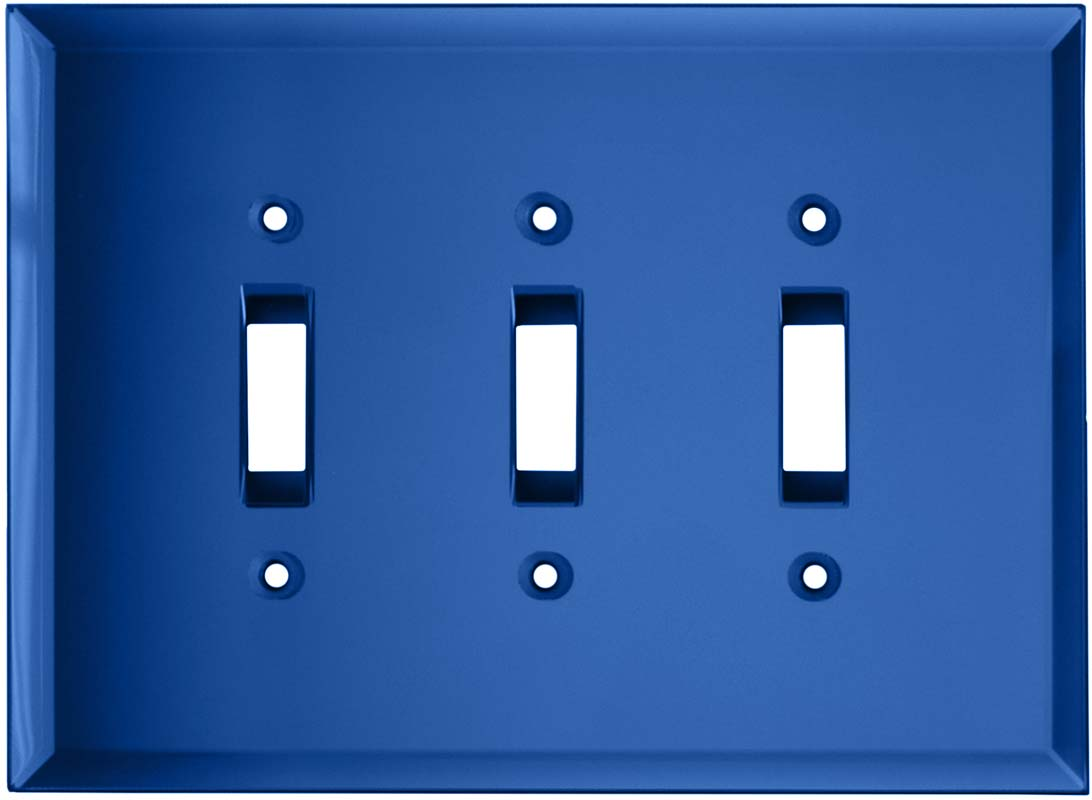 Glass Mirror Sky Blue - 3 Toggle Light Switch Covers
