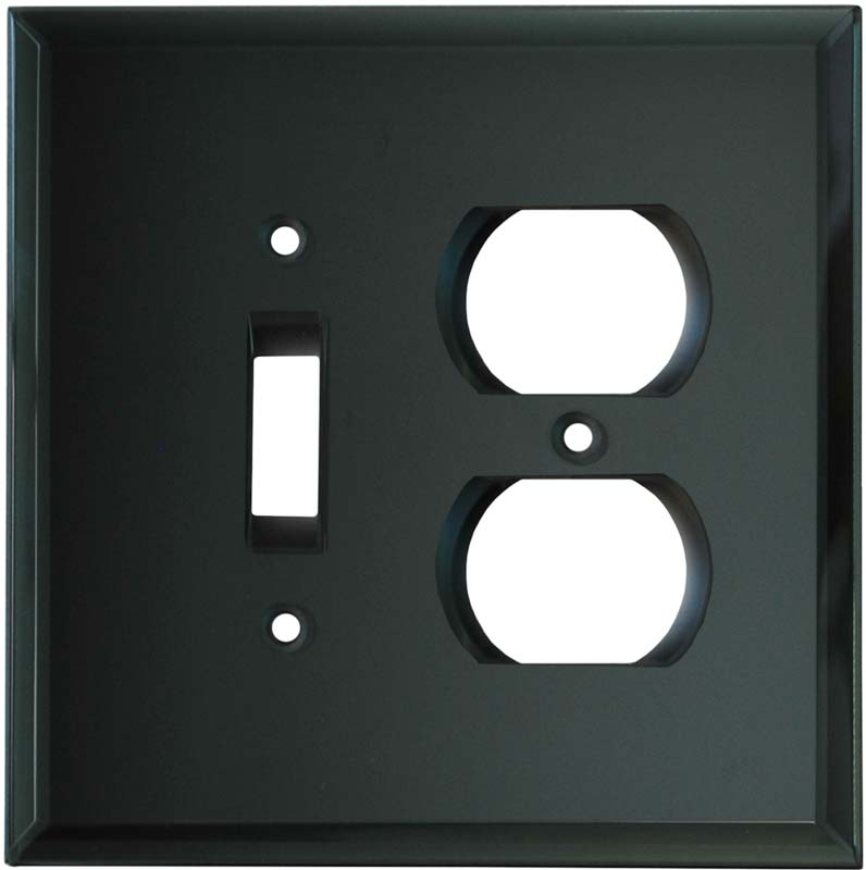Glass Mirror Smoke Grey - Combination 1 Toggle/Outlet Cover Plates