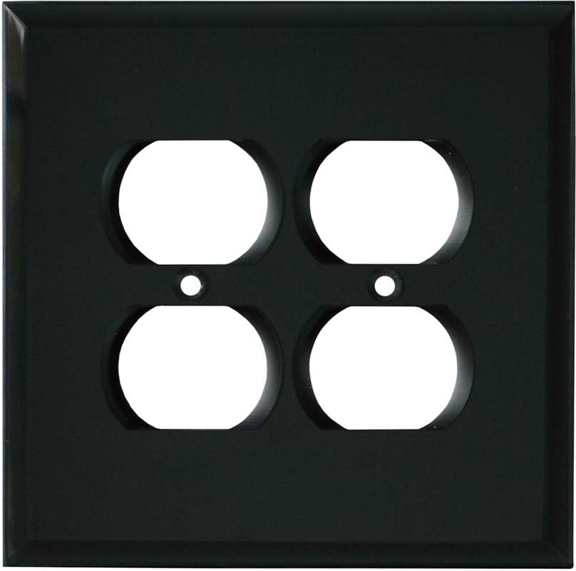 Glass Mirror Smoke Grey 2 Gang Duplex Outlet Wall Plate Cover