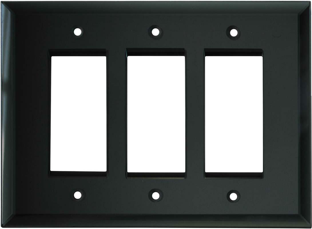 Glass Mirror Smoke Grey - 3 Rocker GFCI Decora Switch Covers