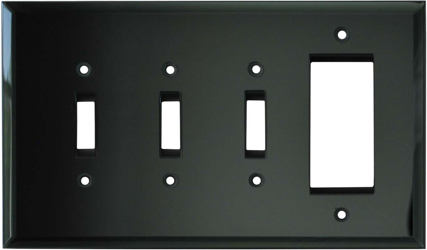 Glass Mirror Smoke Grey - 3 Toggle/1 Rocker GFCI Switch Covers