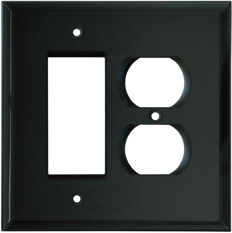 Glass Mirror Smoke Grey - GFCI Rocker/Duplex Outlet Wall Plates